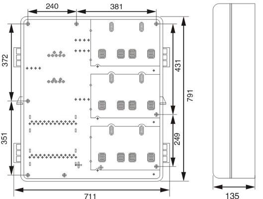 单相六位电表箱接线图  □安装尺寸(mm) □订货须知